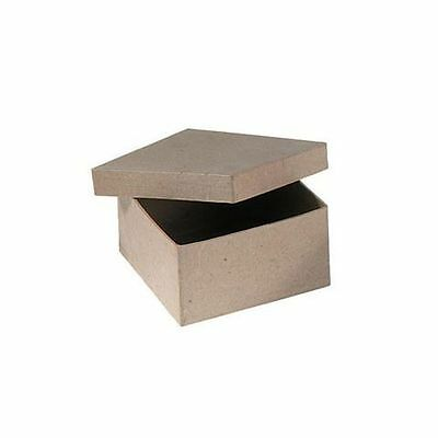 Small Square Box with Lid - Plain Paper Mache Craft Decorate Present Gift