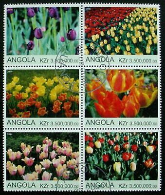 Angola 2000: Tulips Sheet / Block Of 6 Mnh, Pre Cancelled