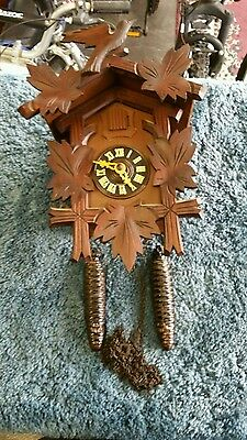 Black Forest Cuckoo Clock with Bird & Leaves