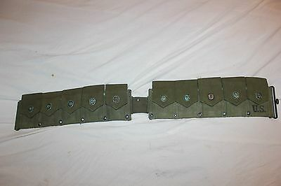 US Military Issue M1 Garand Rifle Cartridge Belt Green Canvas Vintage    10
