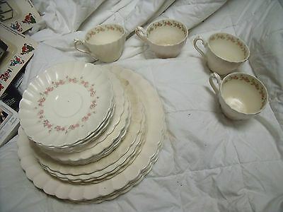 """Lot of Myott Staffordshire Olde Chelsea Plate, Pink with Roses """"Petite"""" 617 4"""