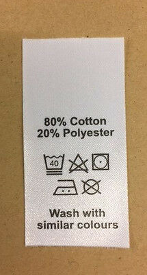 50 wash care clothing labels / garment labels polyester / cotton mix