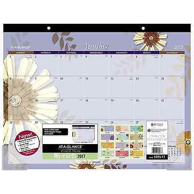 "AT-A-GLANCE Desk Pad Calendar 2017, Monthly, 21-3/4 x 17"", Paper Flowers (5035-1"