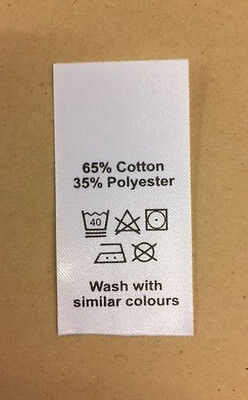 50 wash care clothing labels / garment labels 35 polyester / 65 cotton mix