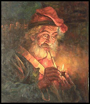 """24""""x20"""" Oil Painting on Canvas, Old Man Smoking, Hand Painted"""