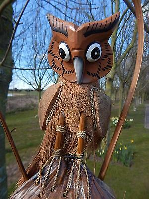 Large Owl Bamboo Wind Chime Fair Trade Hand Carved Wooden Coconut Husk Gorgeous