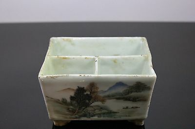 Old Chinese Porcelain Pot With Hand Painted Landscape And Calligraphy