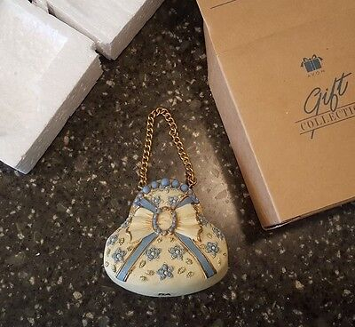 Avon Gift Collection Victorian Accessory Blue Handbag Christmas Ornament NIB
