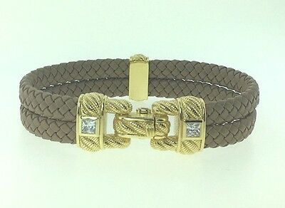 Judith Ripka Sterling 14K Gold Clad Braided Brown Leather Double Row Bracelet Lg