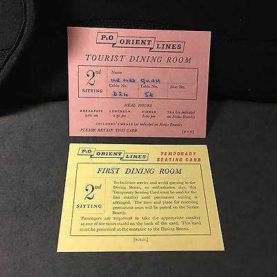 1950's P&O Orient Lines Dining Room ticket for Chinese passenger  x 2