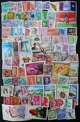 100 Different Used World Stamps. Off Paper