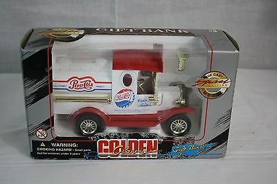 Pepsi Cola Coin Bank Golden Class with Key White/Red Truck