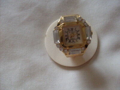 Gold Tone Stainless Steel Ring Nice Watch Rhinestones Expansion Band