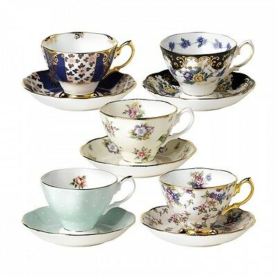 Royal Albert 100 Year Teacup & Saucer 10 Piece Set 1900-1940 New In Box