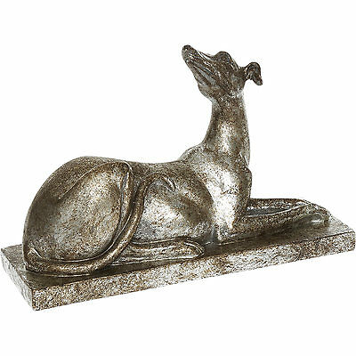 Silver and Gold Large Laying Sitting Greyhound Hunting Dog Ornament Figurine