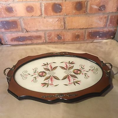 Vintage Embroidered Flower Design Wooden Glass Top Tray With Ornate Handles