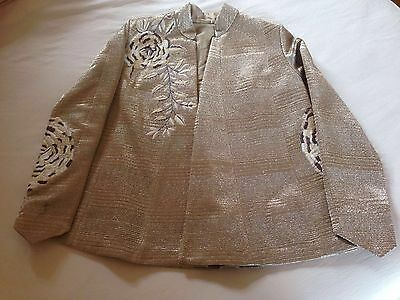 Beige evening  wear jacket with thread work embroidery size 12