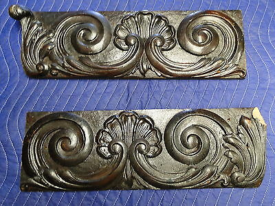 2 Shell Carved Wood Trim Pieces Skirts