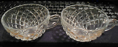 4 Cups Anchor Hocking Waterford Waffle Crystal Depression Glass Pattern