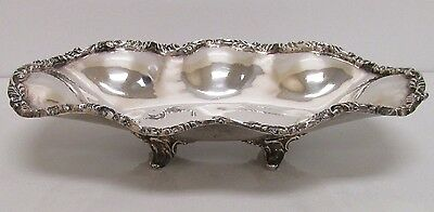 """Mexican Sterling Silver Footed Oval Dish Tray 9.5"""" wide 12.56ozt"""