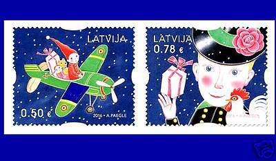 Latvia Lettland 2016 Christmas Gifts - Toys, Airplane ,rose, doll, cock year MNH