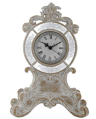 Beauiful Antique Silver And White Wood Luxe Table Clock