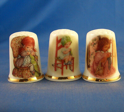 Fine Porcelain China Thimbles - Set Of Three Knitting In A Chair