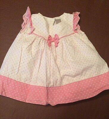 Pink And White Spotty Dress Age 0-3 Months Tu Summer Party