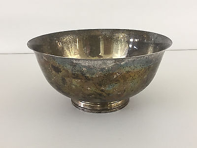 large vintage silver plated punch or salad bowl
