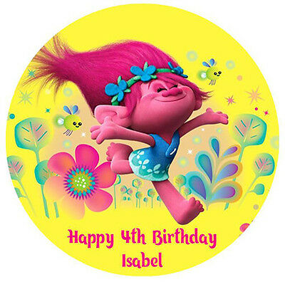 TROLLS Personalised Edible Wafer Paper Birthday Cake Decoration Topper Image
