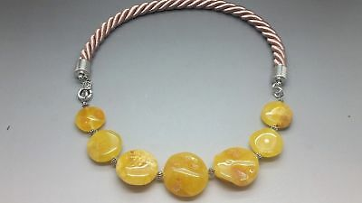Unique Beautiful Genuine Baltic Amber Beads Necklace Butterscotch
