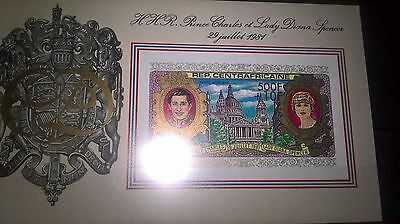 Royalty MNH 1981 Royal wedding CAF imperforate 500F & 10F surcharge sheet