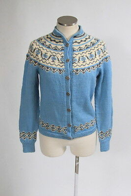 Vtg 70s Blue Ivory Fair Isle Knit Wool Button Front Cardigan Sweater Jacket Sz S