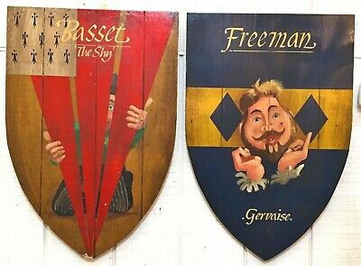 English Shield-Shaped Pub Tavern Signs (pair) | Bar Décor