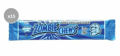 20 x 28g BARS OF MEGA SIZE ZOMBIE CHEWS - SOUR BLUE RASPBERRY FLAVOURED