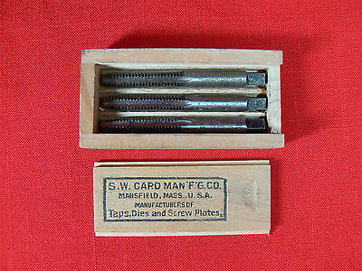 Vintage set S.W. CARD Taps in Original Wooden Box - Rare Collector Tools