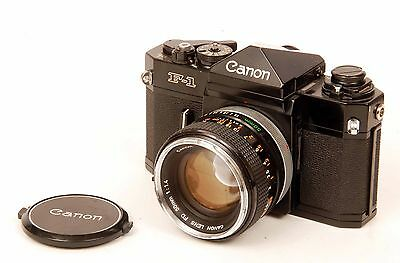 Vintage Canon F-1 SLR Film Camera with 50mm f:1.4 Canon FD Lens & Cap