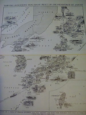 1924 Map Industries of Japan & Korea 2 Small Pages to Frame?