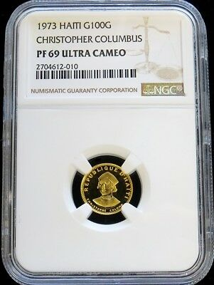 1973 Gold Haiti 100 Gourdes Columbus Ngc Proof 69 Ultra Cameo Only 915 Minted