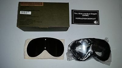 Army US Military Issue Sun Wind And Dust Goggles New Never Used In Box w/ Instr.