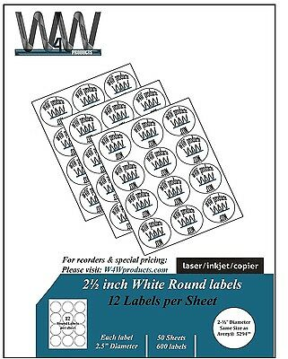 W4W 2 1/2 inch RoundSelf Adhesive White Labels  Comparable to 5294 - Semi Gloss
