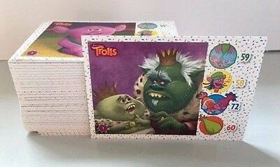 Topps - TROLLS Trading Card Game FULL BASE, SHINY AND COLOUR IN SET 156 CARDS