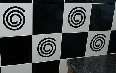 """12  Tile Swirl Transfers Stickers Kitchen Bathroom - To Fit 6"""" GLOSS BLACK"""