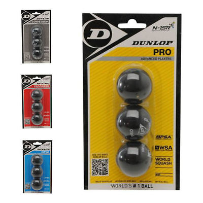 Dunlop Squash Balls Yellow, Silver, Red, Blue  3 Pack, MIX AND MATCH and 12 Pack
