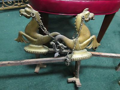 Neo Classical Brass Seahorse Andirons ca1860