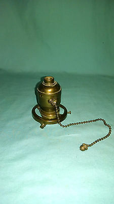 "Hubbell pullchain acorn finial 2 1/4"" shade holder original finish"