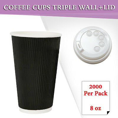 Disposable Triple Wall Coffee Cups 1000 + Lids 1000 8 oz  Take Away Cup Bulk