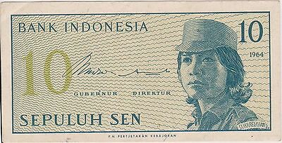 A pre loved 10 sen Banknote from Indonesia