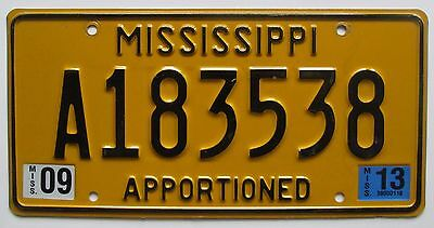 Mississippi SEPTEMBER 2013 APPORTIONED License Plate HIGH QUALITY # A183538