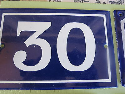 Blue French house number 30 door gate plate plaque enamel  sign